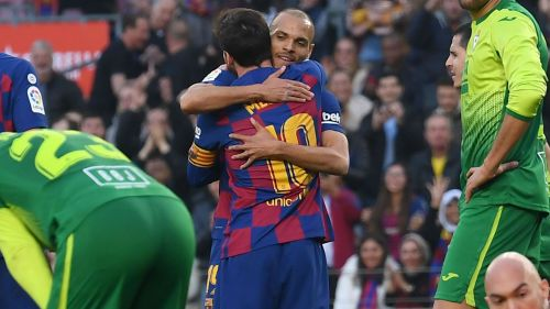 Image result for images of Martin Braithwaite hugging Messi
