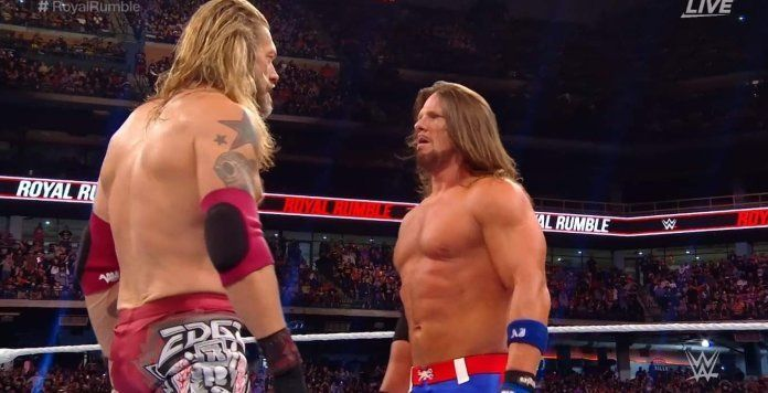 Edge and AJ Styles facing-off at The Rumble