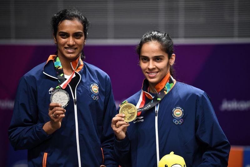PV Sindhu and Saina Nehwal on the Badminton singles podium of 2018 Asiad, Jakarta