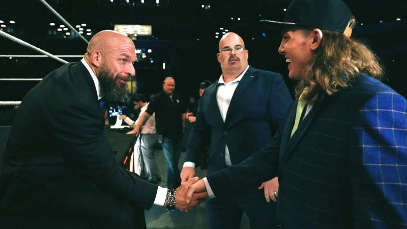 Matt Riddle being welcomed to NXT by Triple H