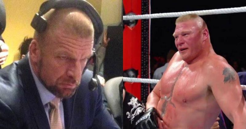 Triple H and Brock Lesnar.