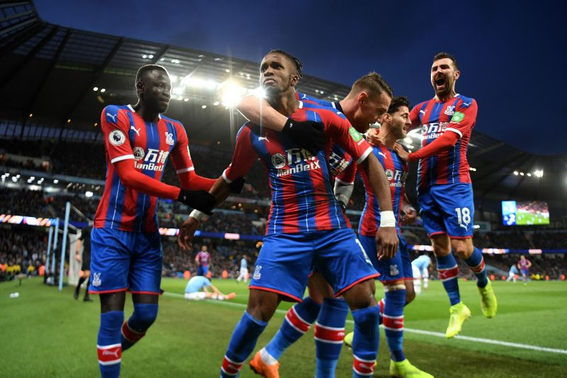 The players of Crystal Palace after scoring goal in Premier League