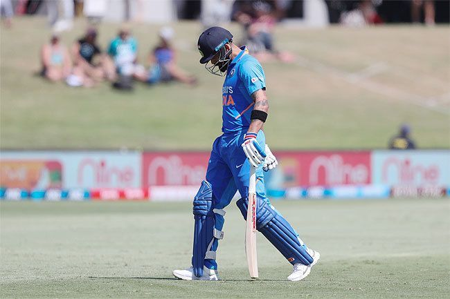 Virat Kohli had a forgettable outing at Mount Maunganui.