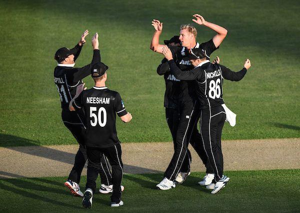 Kyle Jamieson celebrates the wicket of Prithvi Shaw