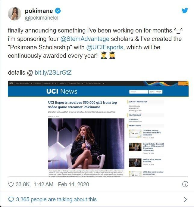 Pokimane tweeted about her donation to UCI
