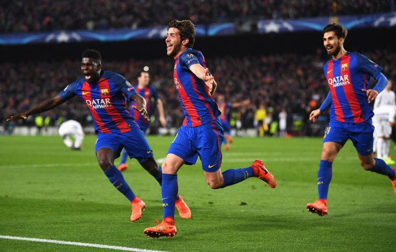 Sergi Roberto celebrates