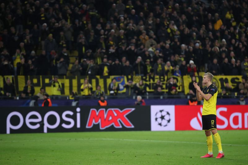 Erling Haaland accepts the plaudits following his two goals for Borussia Dortmund against Paris Saint-Germain in the Champions League