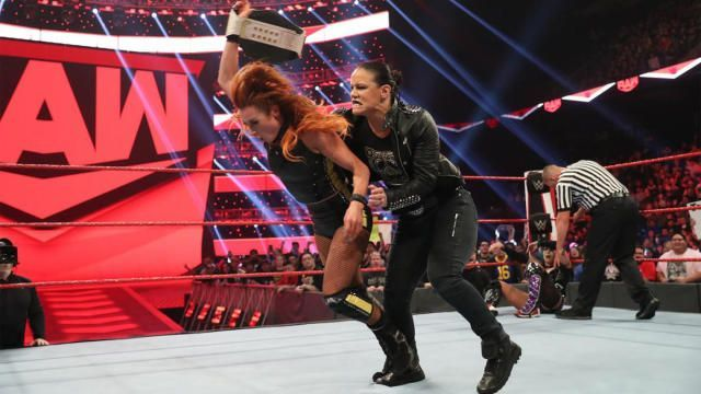 Becky Lynch attacked by Shayna Baszler
