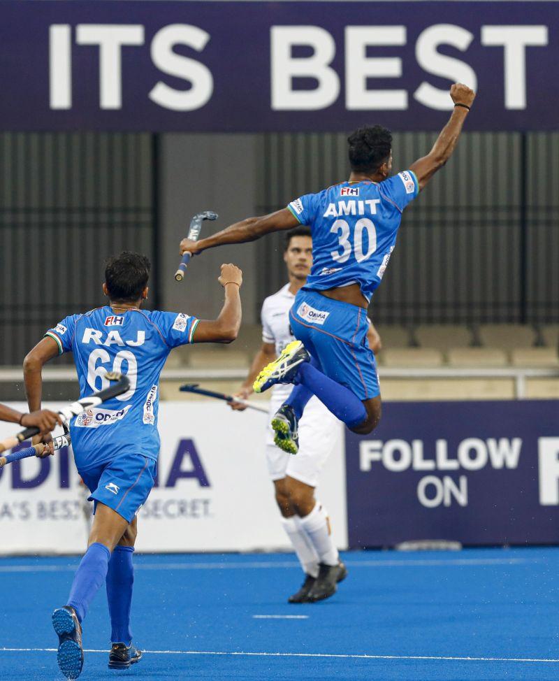 Amit Rohidas celebrates (Image Courtesy: Hockey India)