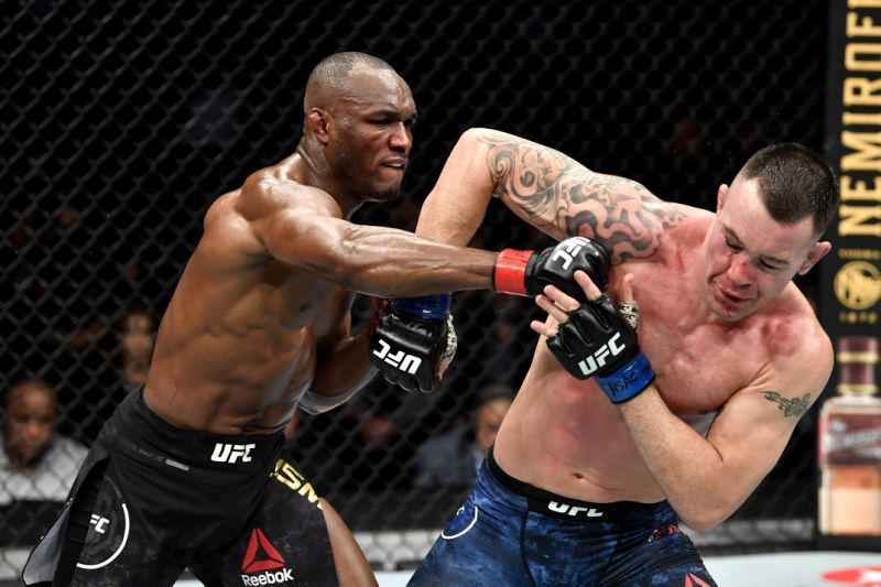 Colby Covington (right) in action against Kamaru Usman