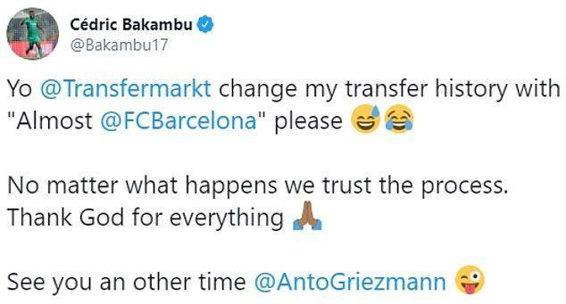 Barcelona pulled the plug on Bakambu
