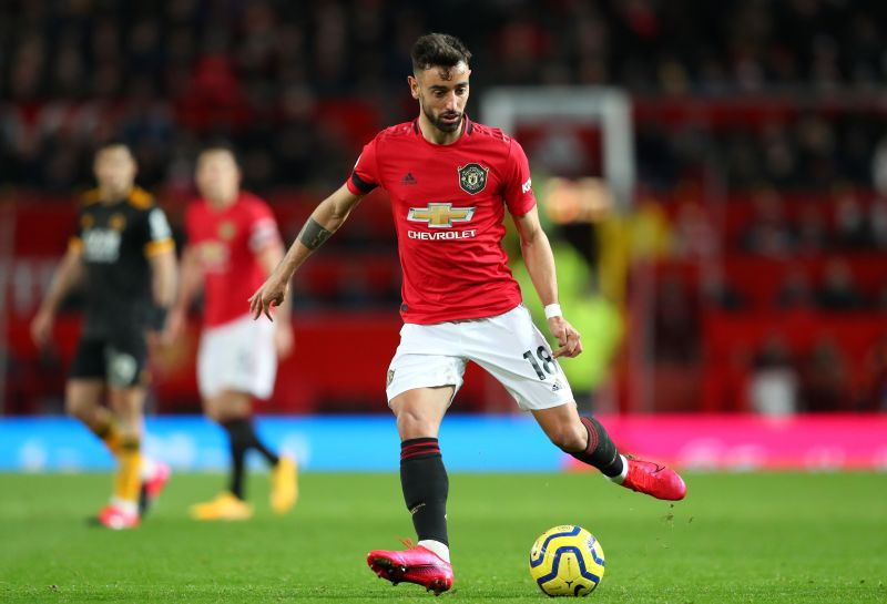 Bruno Fernandes in action on his Manchester United debut