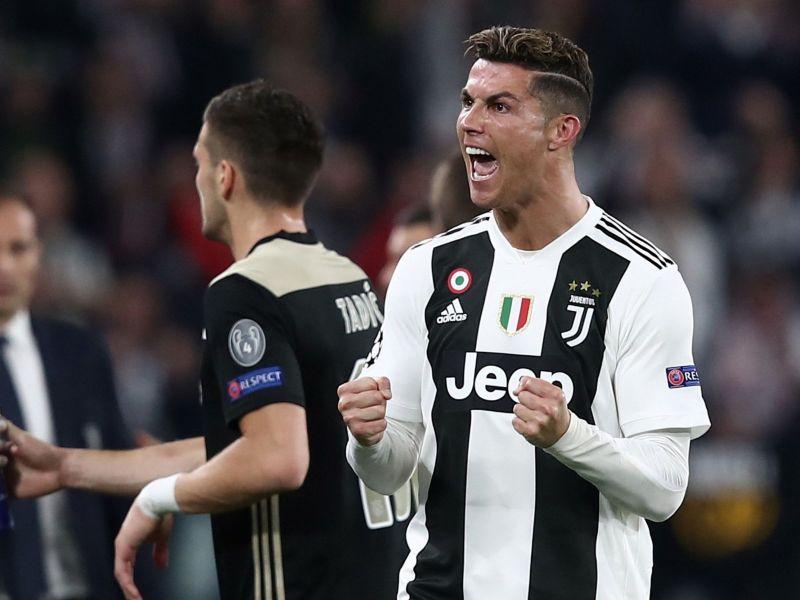 Ronaldo rejoices after scoring against Ajax in 2018-19