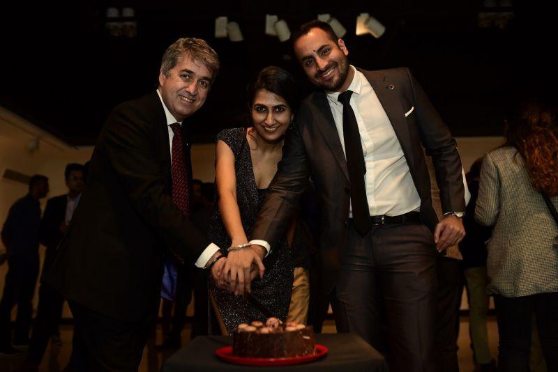 Mr. Jose Antonio Cachaza, Ms. Aakriti Vohra and Mr. Gary Udhwani celebrating the Third Anniversary of LaLiga in India