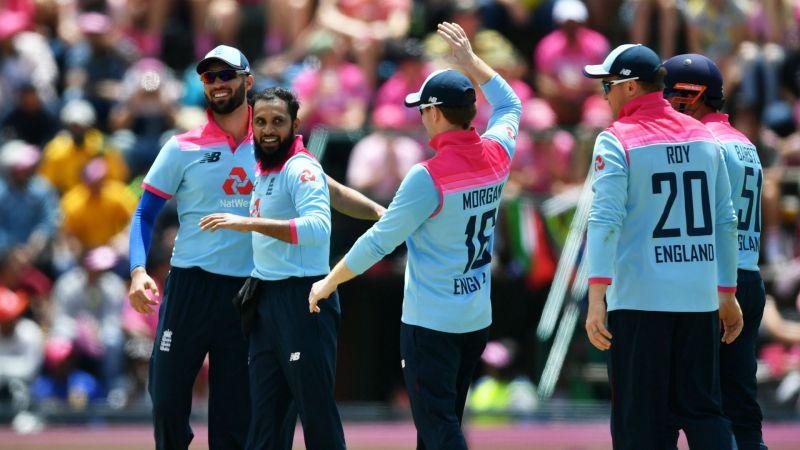 Adil Rashid celebrates one of his three wickets in Johannesburg