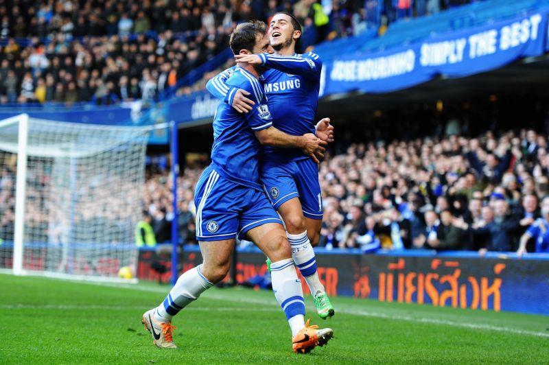 Branislav Ivanovic celebrating with Eden Hazard