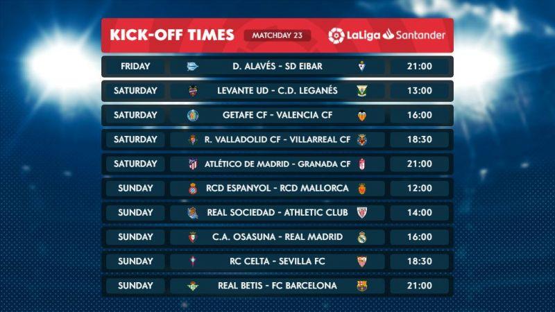 La Liga Matchday 23 fixtures