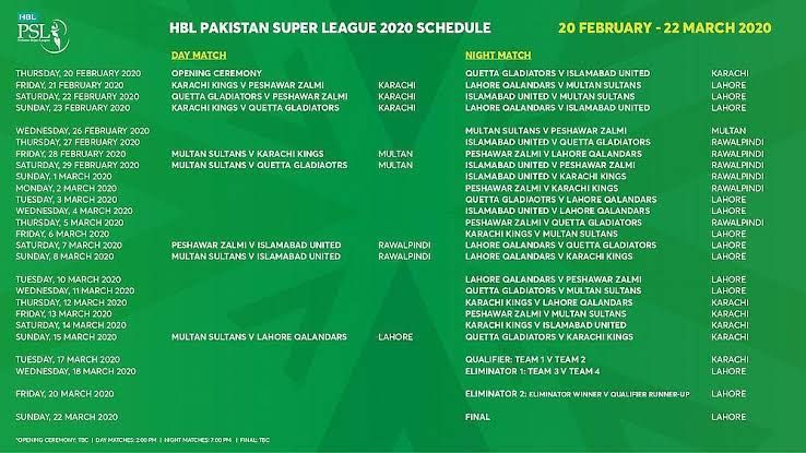 PSL5 Schedule