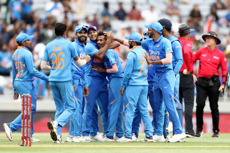 Chahal celebrating his wicket