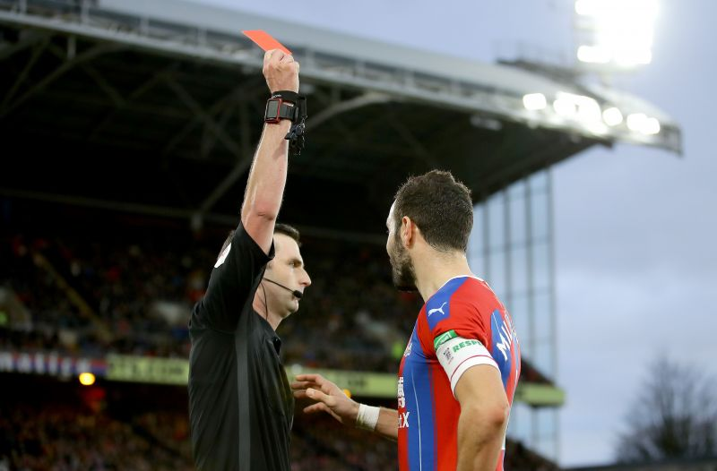 Luka Milivojevic was sent off in the FA Cup third round against Derby County
