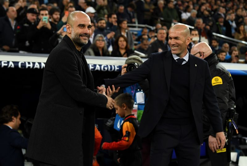 Pep Guardiola (left) and Zinedine Zidane (right) met each other for the first time in their managerial career