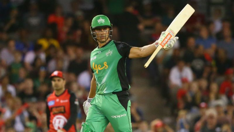 Marcus Stoinis raises his bat in celebration