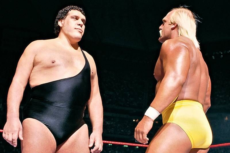 The Irresistible Force meets the Immovable Object: Andre the Giant stares down Hulk Hogan at Wrestlemania III.