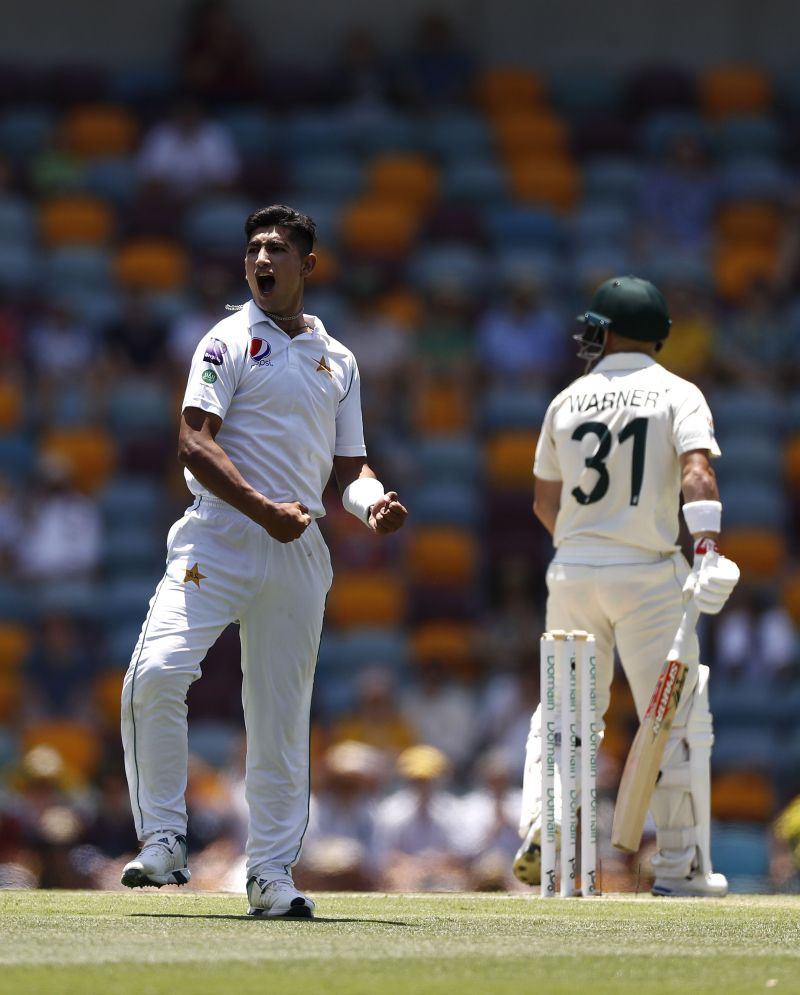 Naseem Shah Picking up the prized wicket of Warner in his debut series