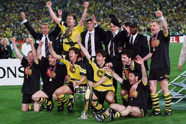 Borussia Dortmund celebrate their win over Juventus in the 1997 Champions League final