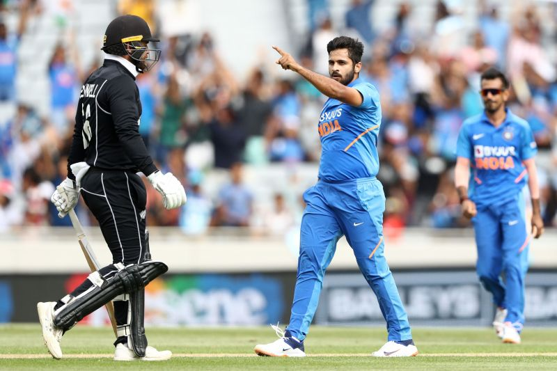 Shardul Thakur celebrating a NZ wicket