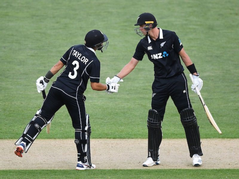 The partnership between Ross Taylor (L) and Kyle Jamieson (R) played a crucial role