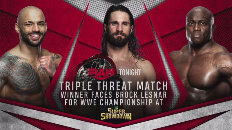 The Triple Threat match took place on RAW
