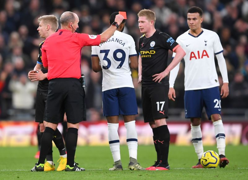 Oleksandr Zinchenko was dismissed for a cynical foul, turning the game in Spurs