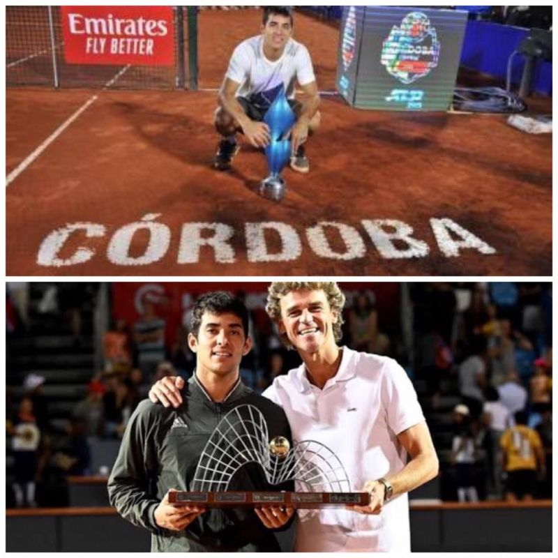 Garin poses with his 2020 ATP singles trophies - Cordoba (top) and Rio de Janeiro