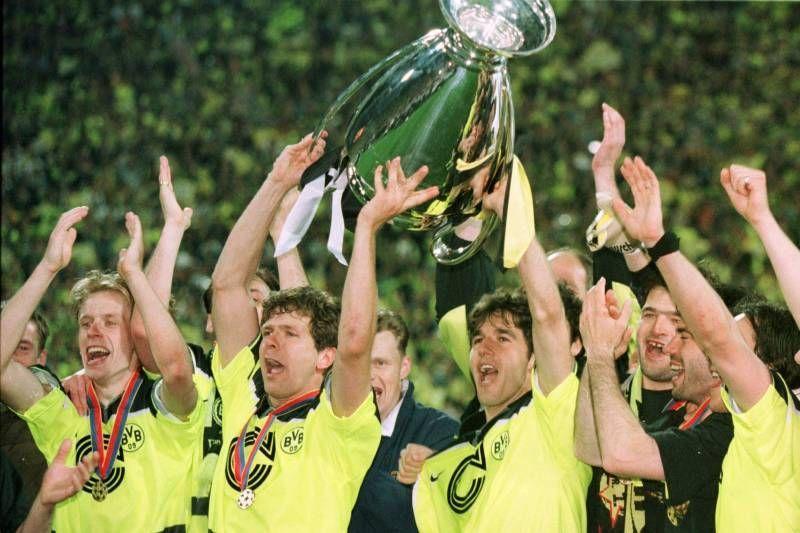 Borussia Dortmund rejoice after winning the 1997 Champions League