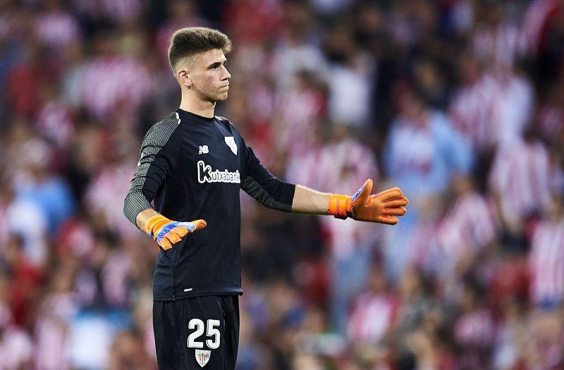 Unai Simon made five saves against Barcelona