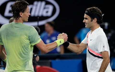 Berdych (left) and Federer met for the last time in the 2018 Australian Open quarterfinals