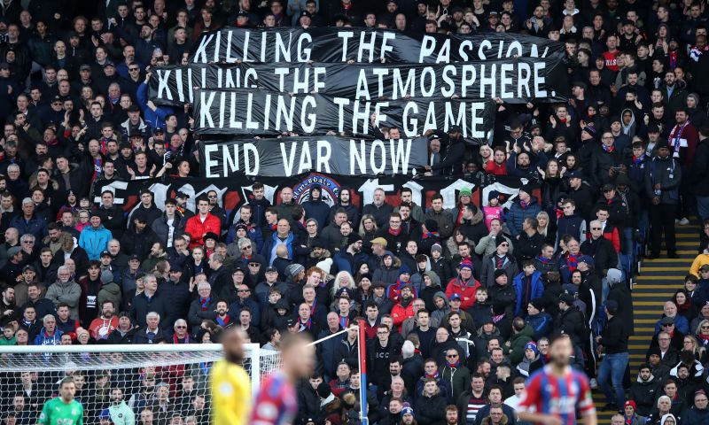 Fans protesting against VAR use in a game between Crystal Palace and Arsenal