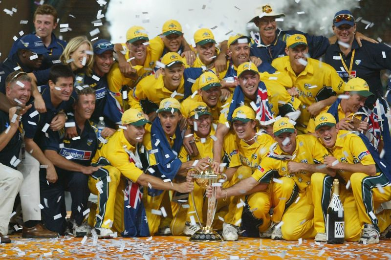 Australia celebrate with the trophy.