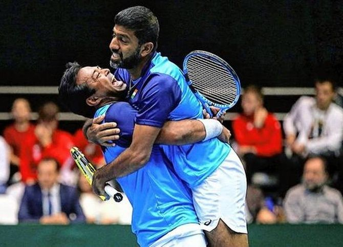 Leander Paes and Rohan Bopanna after their victory against Croatia in doubles