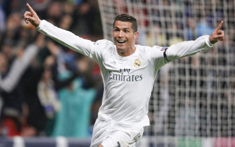 Ronaldo celebrates after scoring one of his 3 goals against Wolfsburg