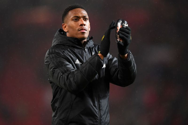 Anthony Martial celebrates his team