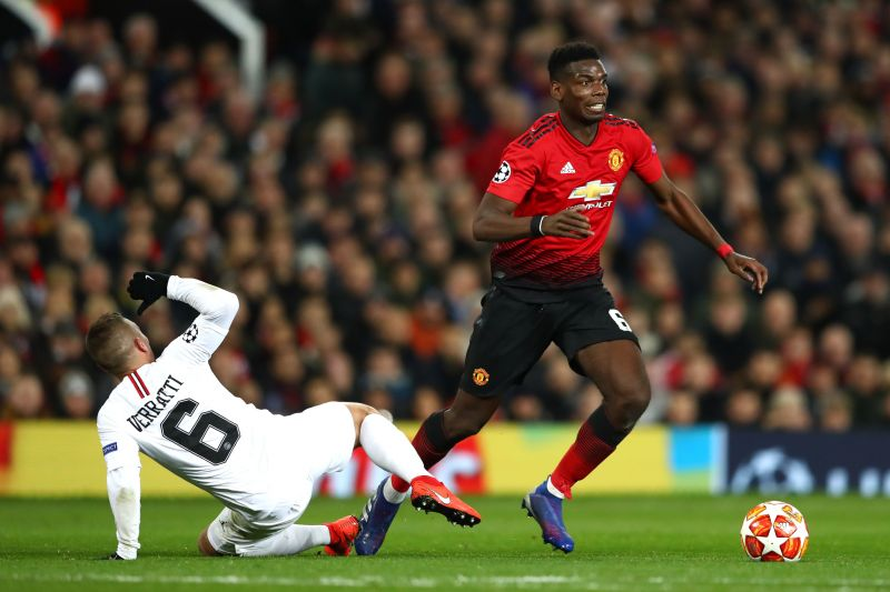 Pogba in action against Paris Saint-Germain in the UEFA Champions League