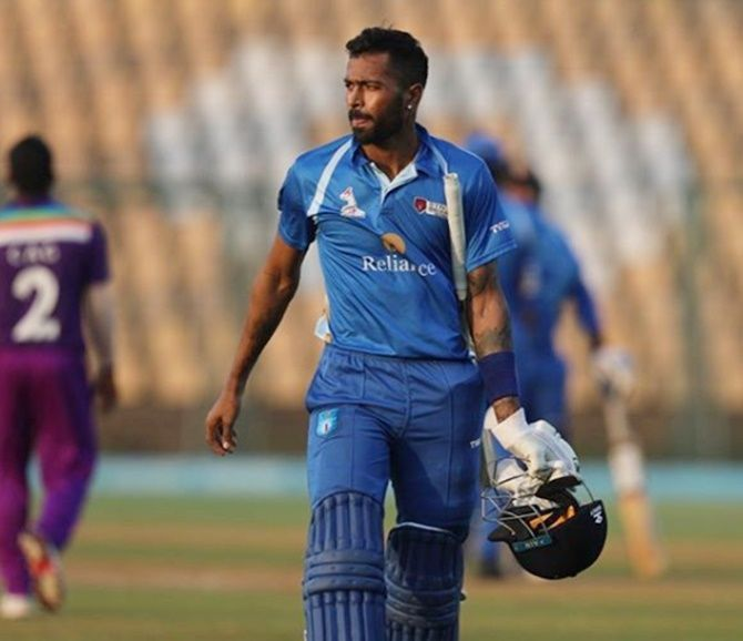 Hardik Pandya scored 105 runs off just 39 balls to help Reliance 1 post 252-5 in their 20 overs
