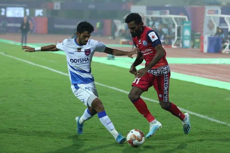 Shubham Sarangi in action in Odisha FC's first-ever ISL match Bhubaneswar against Jamshedpur FC