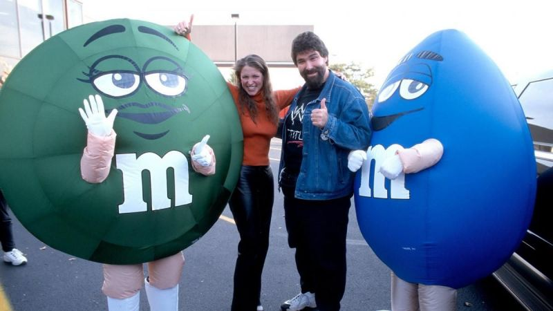 Stephanie McMahon, Mick Foley, and the M&M!