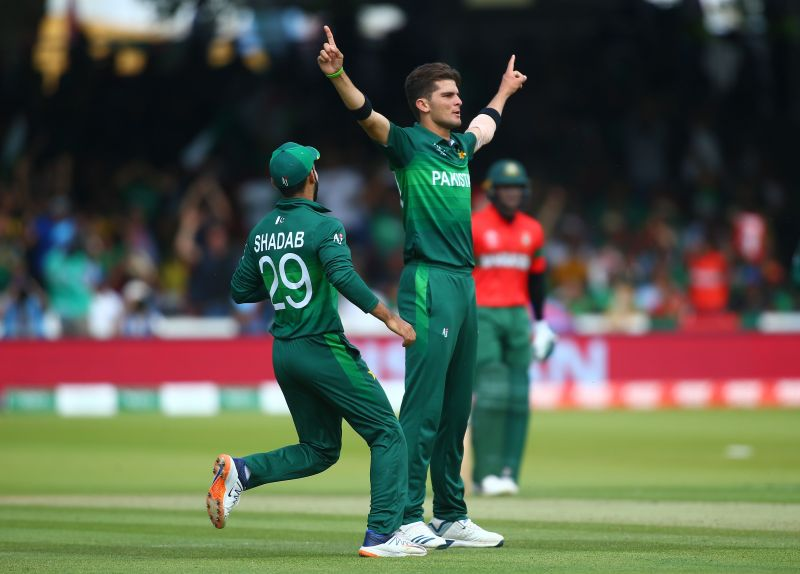 Shadab Khan and Shaheen Afridi celebrate the fall of a wicket