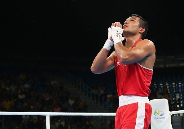 Vikas Krishan is through to the quarterfinals in the 69 kg weight category