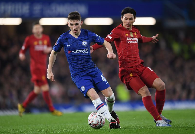 Billy Gilmour in Action against Liverpool FC in the FA Cup 5th Round