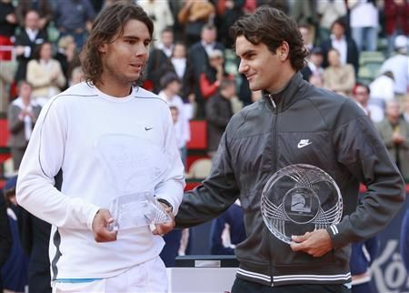 Federer beats Nadal (left) in the 2008 Hamburg final